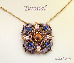 Pendant Eterno. This is an immediate-advanced beading project. Beautiful and sparkly. Size of the pendant 4.6 cm diameter. You should be familiar with peyote stitch. Beading Tutorial for Pendant Eterno is very detailed, with clear beading ins...