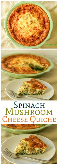 This low carb spinach mushroom cheese quiche is quick and easy to prepare when you dont have a lot of time for dinner Can be made with or without a crust Yummy LHCF Keto. Banting Breakfast, Breakfast Quiche, Low Carb Breakfast, Breakfast Recipes, Breakfast Cups, Quiches, Banting Recipes, Low Carb Recipes, Cooking Recipes