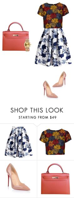 """Untitled #101"" by iiknurtiana-1 ❤ liked on Polyvore featuring Alice + Olivia, Christian Louboutin, Hermès and Rolex"