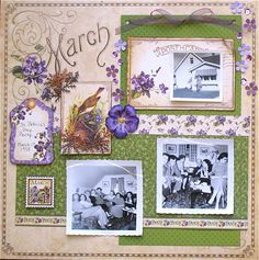 """The new calendar line """"Place in Time"""" has so many paper crafting possibilites. I decided to design a 12 x 12 calendar album as a birthday present for my mother, using photos of herself from her own scrapbooks. In fact, I'm now teaching this album as a class at The Urban Scrapbook"""
