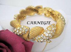 Hattie Carnegie Bracelet - Rhinestone Hinged Bangle - Gold Tone -  Clear Rhinestones