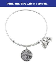 Wind and Fire Life's a Beach Charm Bangle Bracelet (Antique Silvertone Finish). Nothing is more relaxing than a day at the beach, with only the sun and the waves keeping time. The warmth of the sun and the sounds of the sea can soothe even the most restless of souls. Wearing the Life's a Beach Charm Bangle enables you to hold on to this feeling even after you've pulled your toes from the sand.