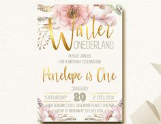 Winter Onederland Party Invitation, Floral Blush and Gold