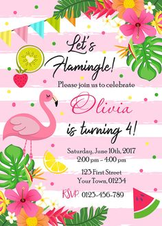 Flamingo Birthday Party Invitation, Lets Flamingle Birthday Invitation, Pink Flamingo Pool Party Invitation, Tropical Luau Hawaiian Invite Size 5x7 or 4x6 300 dpi High Resolution digital file (JPEG). Digital files can easily be printed at home or at any print shop or emailed to your