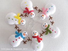 Snowman Set of 6 Christmas ornaments by acasadoguaxinim on Etsy, €12.00