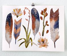 Feathers and Succulent Art Print, Watercolor Painting, Giclee Art Print, Archival Art Print - Birds of A Feather Collection