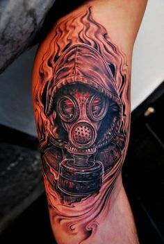 Flaming Zombie Gas Mask Tattoo On Half Sleeve