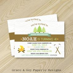Camping Birthday Invitation  5x7 Printable by GraceandGuy on Etsy, $13.75