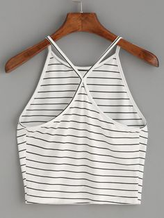 Bella Striped Halter Top White with black stripes Halter cami Cross-back Fabric is fairly stretchy One size fits most Please allow weeks for delivery due to Striped Cami Tops, Cute Crop Tops, Outfits For Teens, Trendy Outfits, Cute Outfits, Plus Size Tank Tops, Black And White Fabric, Casual Skirt Outfits, Casual Dresses