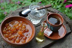 Western Serbia's wellcome toast - domestic coffee, sweet plums and rakija put in a special glass. #WestSerbia #Zlatibor