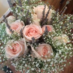 My wedding bouquet of roses, lavender and baby's breath