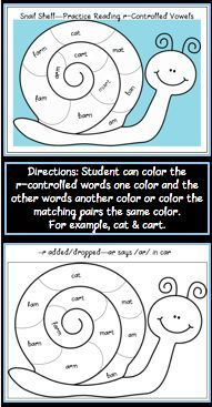 FREEBIE--These fun activity/coloring tasks give student exposure to the 4 sounds of r-controlled vowels in such a simple way. As students listen to themselves reading the simple words in the snail shell with the insertion/substitution of the letter –r, then they will hear the difference in the how the word pairs sound (cat, cart). They will recognize that instead of the vowel saying it's two normal sounds—short and long—that it will sound completely different.