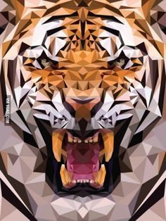 Geometric tiger made from triangles