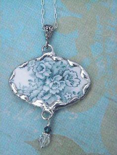 Broken China Jewelry Teal Transferware Necklace