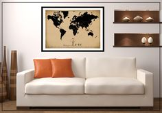 CUSTOM WORLD MAP PRINT / POSTER. This vintage style map is a different twist on my very popular bus scroll / tram scroll print. Could be places you have lived, places your family live or come from, places you have been to, places you want to go to - your 'bucket list', or even just places that hold a special spot in your heart. Great conversation starter and reminder of memories x http://www.mayandbelle.com.au/Custom--VINTAGE-MAPS-SALE_c_12.html