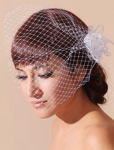 Rhinestone Embellished Bridal Blusher Veil with Flower