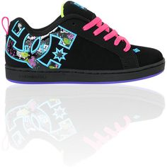 DC Girls Court Graffik SE Black Graffiti Skate Shoes ❤ liked on Polyvore featuring shoes, dc shoes and sneakers