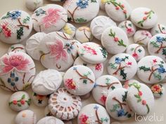 Wonderful selection of embroidered buttons.