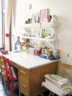 Emma Lambs beautiful desk...love the colored polka dotted contact paper on the desk top.  Shelves above desk.  Decorate with lace ribbon or bunting...prettt