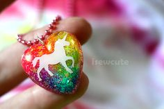 """Magical Unicorn Glitter Necklace, sparkly heart resin glitter pendant """"chain included"""" handmade unicorn necklace by isewcute"""