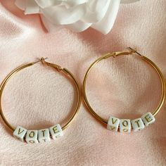 Excited to share this item from my #etsy shop: VOTE, Vote Hoop Earrings, 2020 Election Item,!Harry Styles Inspired, Gold Hoop, Letter Earrings, Political Earrings, Vote Earrings, Hoops #latchback #earlobe #vote #jewellery #election2020 #vote2020 #votejewelry #votegift #voteearrings Letter Earrings, Letter Beads, Hoop Earrings, Voting Today, Gold Letters, Gold Hoops, Harry Styles, Etsy Shop, Lettering