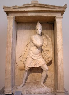 "Funerary naiskos (Greek: ναΐσκος, diminutive of ναός ""temple"") of Aristonautes from the Kerameikos, ca. 330–310 BCE. marble, h. 2.91m."