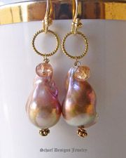 Irridescent Pink to Peach Freshwater Pearls, Imperial Topaz & 22kt Gold Vermeil Earrings  | Online upscale artisan handcrafted pearl & gemstone jewelry boutique | Schaef Designs Pearl Jewelry | San Diego, CA