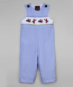 Look at this Light Blue Crab Smocked Overalls - Infant & Toddler Baby Boy Fashion, Toddler Fashion, Cactus Light, Little Boys, Smocking, Overalls, Light Blue, Rompers, Children