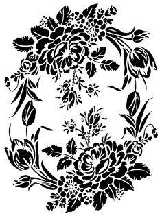 Floral Motif Intricate durable 190 micron Mylar Stencil - - - ***NEW*** Stencils, Damask Stencil, Stencil Patterns, Stencil Painting, Stencil Designs, Folk Embroidery, Floral Embroidery, Embroidery Patterns, Decoupage