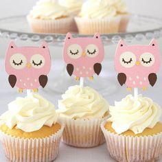 12 x toppers Cupcake buho rosada de los búhos por MyPinwheelParty