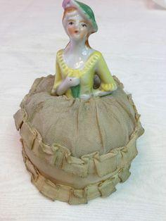 Pincushion Half Doll with Silk Skirt ~ Made in Japan