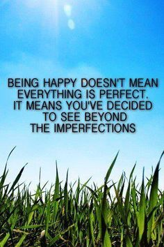 Being happy means you've decided to see beyond your imperfections!