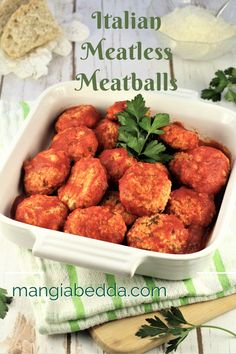 Cheesy, moist and tender, you'll never miss the meat in these Italian vegetarian meatballs!