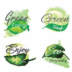 Watercolor green leaves logo collection PNG and Vector Electricity Logo, Organic Logo, Bakery Logo, Leaves Vector, Leaf Logo, Vector Photo, Watercolor Design, Green Leaves, Vector Free