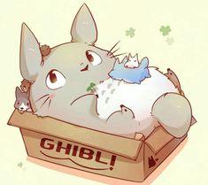 My Neighbor Totoro, cute, box, puppies, text; Studio Ghibli