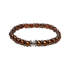 Womens Pearl Bracelet  Easyon Stretch Single Strand Bracelet with Stainless Steel spacer beads Chocolate *** For more information, visit image link.