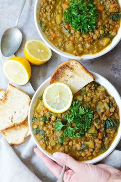 Green lentil soup with a Mediterranean twist is the perfect weeknight dinner. This healthy and hearty lentil soup is packed with vegetables and spices. It's naturally vegan and gluten free and I love making a large batch of it to enjoy during the week! Green Lentil Soup, Vegetarian Lentil Soup, Curried Lentil Soup, Lentil Stew, Green Lentils, Paleo Soup, Hearty Soup Recipes, Lentil Recipes, Vegetarian Recipes
