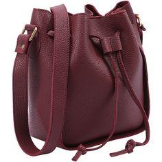 SheIn(sheinside) Embossed Faux Leather Drawstring Bucket Bag -... (63 BRL) ❤ liked on Polyvore featuring bags, handbags, shoulder bags, bolsas, backpacks, bolso, handbags shoulder bags, faux leather drawstring backpack, man bag and vegan backpack