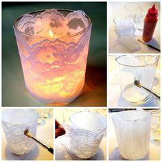 Kierrätä kynttiläpurkit ristiäisiin tai häihin pöytäkoristeiksi! Liimaa pitsikoriste purkin ulkopintaan ja saat saat näyttävän somisteen. #Tuikkiva #EscentialKynttiläpurkki #PartyLite #hääidea #pitsi #DIY #Bröllop #idéer #Teljus #glasljus