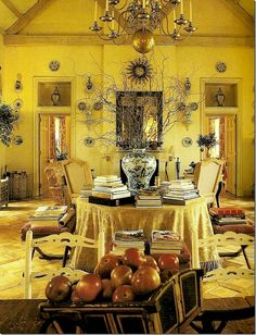 large table in center arch . Balderbrae: David Easton's former estate. Tuscan Decorating, French Country Decorating, Decorating Ideas, Decor Ideas, Southwestern Home, Yellow Cottage, Barn Parties, Country Furniture, Cottage Furniture