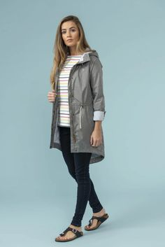 Fully waterproof, windproof and breathable. Women's length, lightweight, grey raincoat with curved hem. Breton Top, Raincoat Jacket, Parka Style, Summer Rain, Raincoats For Women, My Favorite Part, Lighthouse, Military Jacket
