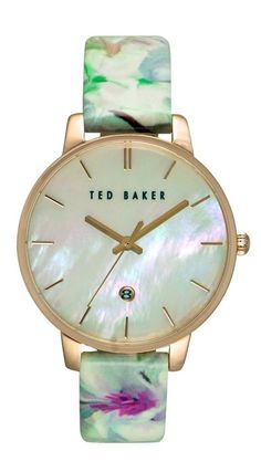 The iridescent mother-of-pearl dial on this spring-ready watch from Ted Baker catches the light, flashing back dreamy pastel hues while slender indices mark the hours.