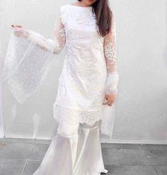 Beautiful white dress for eid Pakistani White Dress, Pakistani Wedding Dresses, Pakistani Dress Design, Pakistani Outfits, Indian Outfits, Eid Dresses, Party Wear Dresses, Indian Dresses, Bridal Dresses