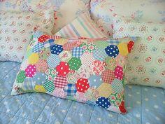 Hexagon patchwork cushion By prettyshabby