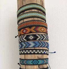 Beads miyuki woven Inca motif bracelet different colors Loom Bracelet Patterns, Bead Loom Bracelets, Beaded Wrap Bracelets, Bead Loom Patterns, Braided Bracelets, Bracelets For Men, Friendship Bracelets, Miyuki Beads, Loom Beading