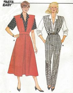 1980's Womens A-Line Jumper or Jumpsuit and Shirt Deep V