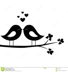 Love birds clipart black - ClipartFest