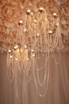 crystal strands chandlier! for Katy by gathering floral + event design