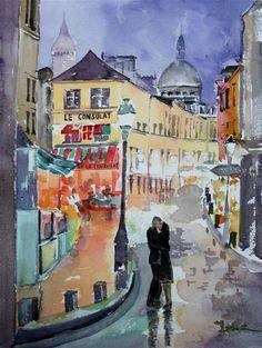 """Daily Paintworks - """"City of Light, Montmartre, Paris"""" - Original Fine Art for Sale - © Lisa Fu"""