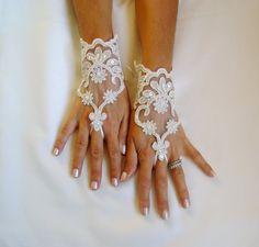 Elegant Cream lace Wedding bridal gloves adorned by GlovesByJana, $30.00